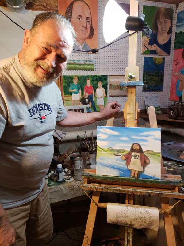 Flat Jesus Visits Artist Art Lee