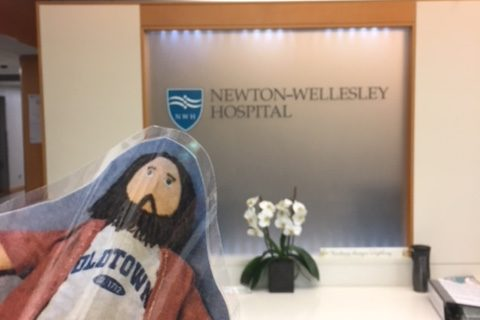 Flat Jesus visits Newton-Wellesley Hospital