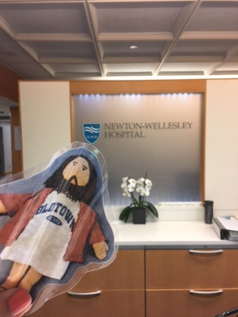 Flat Jesus visits Newton-Wellesley Hospital