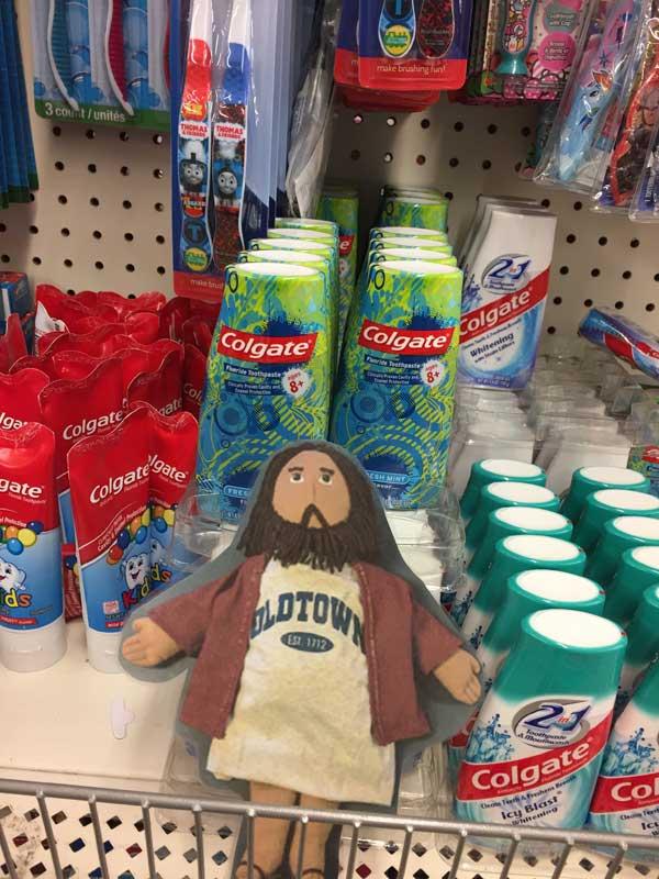 Flat Jesus at the Food Pantry