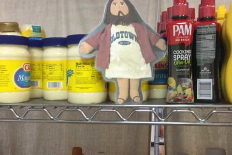 Flat Jesus at the Food Pantry