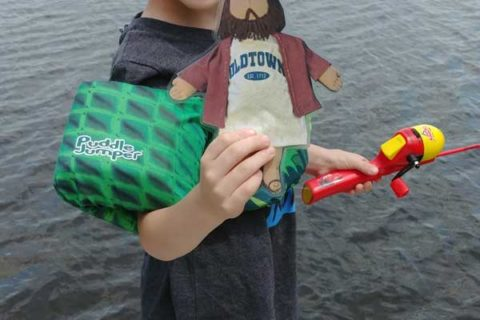 Flat Jesus Fishing in NH with Nolan