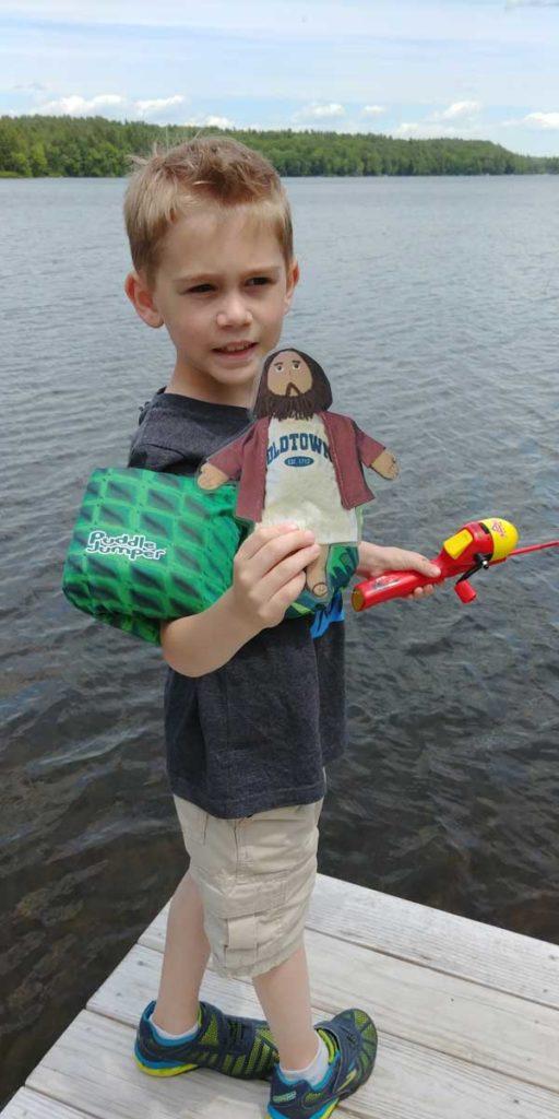 Flat Jesus Fishing in NH with Nolan
