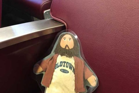 Flat Jesus Rides the Commuter Rail