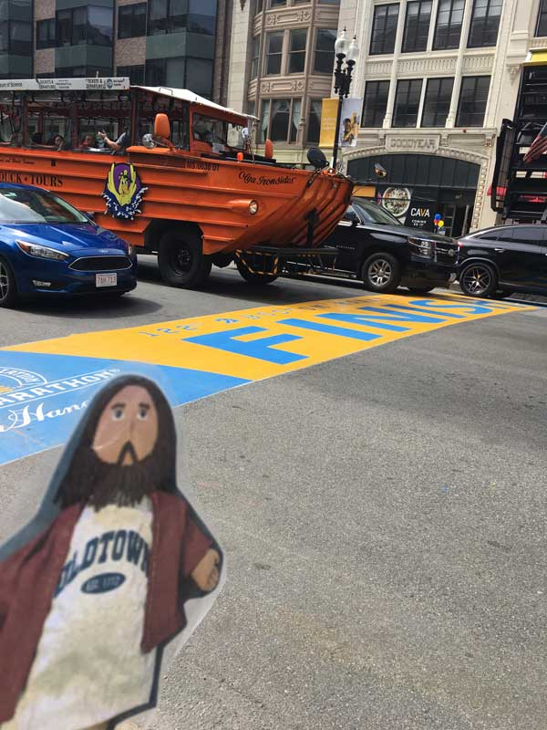 Flat Jesus Crosses the Boston Marathon Finish Line