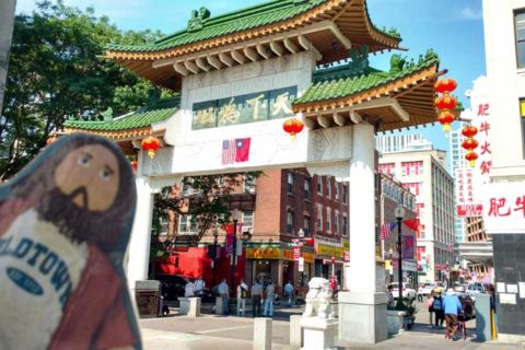 Flat Jesus in Chinatown