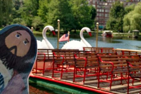 Flat Jesus Rides the Swan Boats
