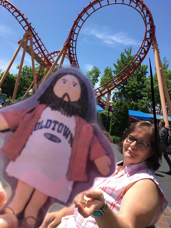 Flat Jesus Rides the Rollercoaster at Six Flags