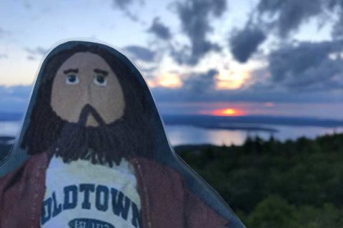 Flat Jesus Enjoys the Sunrise