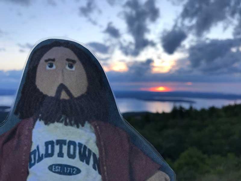Flat Jesus Enjoys the Sunrise